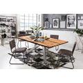 SIT Tisch, 220x100 cm, Platte Balkeneiche geölt, Gestell Metall antiksilber
