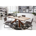 SIT Tisch, 220x100 cm, Platte Balkeneiche, Gestell Metall antikbraun hell