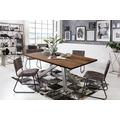 SIT Tisch, 220x100 cm, Platte Balkeneiche, Gestell Metall antiksilber dunkel