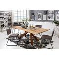 SIT Tisch 220x100 cm, Platte Wildeiche geölt, Gestell Metall antikbraun