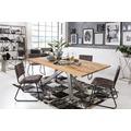 SIT Tisch 220x100 cm, Platte Wildeiche geölt, 1 x Gestell Metall antiksilber