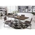 SIT Tisch, 240x100 cm, Platte Balkeneiche geölt, Gestell Metall antiksilber dunkel