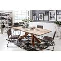 SIT Tisch, 240x100 cm, Platte Balkeneiche, white wash, Gestell Metall antikbraun
