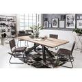 SIT Tisch, 240x100 cm, Platte Balkeneiche, white wash, Gestell Metall antikschwarz