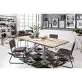 SIT Tisch, 240x100 cm, Platte Balkeneiche, white wash, Gestell Metall antiksilber