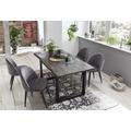 SIT TISCHE & BÄNKE Tisch 160x85 cm, Mango grau sägerau, Gestell schwarz mit Baumkante wie gewachsen Platte natur, Gestell schwarz lackiert
