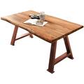 SIT TISCHE & BÄNKE Tisch 200x100 cm Platte natur, A-Gestell antikbraun klein