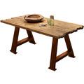 SIT TISCHE & BÄNKE Tisch 220x100 cm Platte natur, A-Gestell antikbraun
