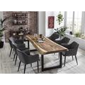 SIT TISCHE & BÄNKE Tisch 250x90 cm, Platte Suarholz 80 mm, Gestell schwarz mit Baumkante wie gewachsen