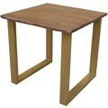 SIT TISCHE & BÄNKE Tisch 80 x 80 cm, Gestell messingfarbig, Platte nussbaumfarbig