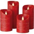 Sompex LED Kerze Shine 4er Set rot mit Timer