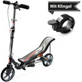 Space Scooter X580 matt-schwarz + Tretroller & Scooterklingel
