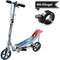 Space Scooter X580 silber/blau + Tretroller & Scooterklingel