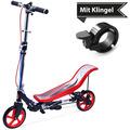 Space Scooter X590 Deluxe rot - bis 120 kg für Kinder und Erwachsene + Tretroller & Scooterklingel