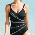 Sunflair Badeanzug mit Schalen, Shapewear, gestreift, schwarz 40B