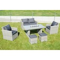 SUNNY SMART Fame Dining-Lounge, grey-white, Geflecht, 6 Personen, inkl. Polster