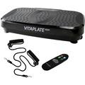 @tec Vitaplate Pro X 300W Vibrationsplatte, Schwarz, mit Fernbedienung, Farbdisplay und Fitnessbändern
