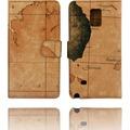 Twins Kunstleder Flip Case für Galaxy Note 4 ,Atlas,braun