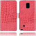 Twins Kunstleder Flip Case für Galaxy Note 4, Kroko Optik,pink