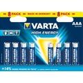 VARTA Batterie Alkaline, Micro, AAA, LR03, 1.5V High Energy, Retail Blister (8-Pack)