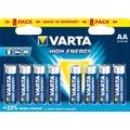 VARTA Batterie Alkaline, Mignon, AA, LR06, 1.5V High Energy, Retail Blister (8-Pack)