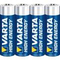 VARTA Batterie Alkaline, Mignon, AA, LR06, 1.5V High Energy, Shrinkwrap, (4-Pack)