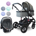 """VCM Kombi - Kinderwagen, Babywagen 2in1 oder 3in1 """"VCK Kidax"""" 3in1 - mit Babyschale  Blau"""