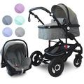 """VCM Kombi - Kinderwagen, Babywagen 2in1 oder 3in1 """"VCK Kidax"""" 3in1 - mit Babyschale  Lila"""