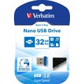 Verbatim USB 3.0 Stick 32GB, Nano Store'n'Stay 80MB/s, 533x, Retail-Blister