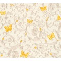 Versace florale Mustertapete Butterfly Barocco Vliestapete creme gelb metallic 10,05 m x 0,70 m