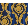 Versace klassische Mustertapete Barocco and Stripes, Tapete, blau, metallic