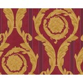 Versace klassische Mustertapete Barocco and Stripes, Tapete, metallic, rot