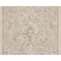 Versace klassische Mustertapete Pompei, Tapete, beige, grau, metallic