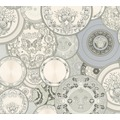 Versace Mustertapete Les Etoiles de la Mer 2 Vliestapete grau metallic weiß 10,05 m x 0,70 m 349013