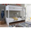 Wohngebiet Etagenbett LUKA 90x200 mRR MDF/Buche massiv weiß lackiert