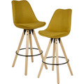 Wohnling 2er Set Barhocker Curry Stoff / Massivholz, Skandinavisch 2 Stück, mit Lehne Sitzhöhe 77 cm gelb