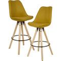 Wohnling 2er Set Barhocker Curry Stoff / Massivholz, Design Barstuhl Skandinavisch 2 Stück, Tresenhocker mit Lehne Sitzhöhe 77 cm gelb
