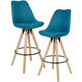 Wohnling 2er Set Barhocker Petrol Stoff / Massivholz, Design Barstuhl Skandinavisch 2 Stück, Tresenhocker mit Lehne Sitzhöhe 77 cm blau
