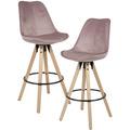 Wohnling 2er Set Barhocker Rosa Samt / Massivholz, Design Barstuhl Skandinavisch 2 Stück, Tresenhocker mit Lehne Sitzhöhe 77 cm rosa