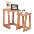 Wohnling 2er Set Beistelltisch Massivholz Akazie Design Wohnzimmer-Tisch eckig Nachttisch Satztisch Landhaus-Stil