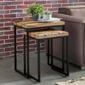 Wohnling 2er Set Design Satztisch BELLARY Beistelltisch 2-teilig Massivholz Tisch, Industrie Anstelltische eckig modern Holztisch mit Metallbeinen, Loft Wohnzimmertisch modern braun