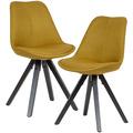 Wohnling 2er Set Esszimmerstuhl Curry schwarze Beine Stuhl Skandinavisch, Polsterstuhl mit Stoff-Bezug