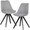 Wohnling 2er Set Esszimmerstuhl Hellgrau schwarze Beine Stuhl Skandinavisch, Polsterstuhl mit Stoff-Bezug