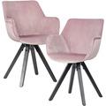 Wohnling 2er Set Esszimmerstuhl Samt Rosa mit Armlehnen, Küchenstühle Modern mit schwarzen Beinen