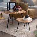 Wohnling 2er Set Satztisch Akazie Massivholz / Metall Couchtisch Klein, Design Beistelltisch Set Zwei Holz-Tische, Wohnzimmertisch Tisch Metallgestell
