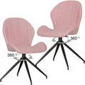 Wohnling 2er Set Vintage Design Esszimmerstühle YURI 360° drehbar Rot gepolstert, Polsterstühle mit Lehne und Metallbeinen, Doppelpack Küchenstühle