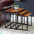 Wohnling 3er Set Beistelltisch WL5.662 Massivholz Tisch 3-teilig Sheesham, Industrie Couchtisch eckig modern Holztisch mit Metallbeinen, Loft Wohnzimmertisch, Anstelltische mit Metallgestell braun