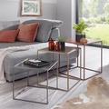 Wohnling 3er Set Design Beistelltisch MATTIS Satztisch 3-teilig Sofatisch Metall, Design Industrie Couchtisch eckig Kupfer Messing Zink, Loft Wohnzimmertisch modern, Kleine Tische mit Metallgestell mehrfarbig