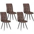 Wohnling 4er Set Vintage Esszimmerstühle FALKO Braun Polsterstühle Retro Design, Küchenstühle mit Mikrovelour in Wildlederoptik, Stuhl-Quartett mit Metallbeinen