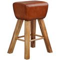 Wohnling Barhocker Turnbock 43x75x43 cm Mango Massivholz / Echtleder, Design Barstuhl Braun